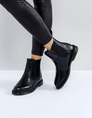 Dr. Martens Kensington Flora Black Croco Chelsea Boots