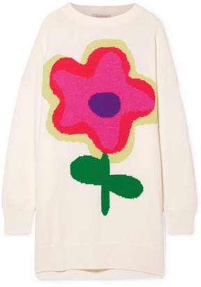 Christopher Kane Oversized Intarsia Wool-blend Sweater - Cream