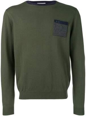 Sun 68 contrast hem fitted sweater
