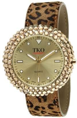 TKO Women's Leather Leopard Animal Print Gold Crystal Metal Slap Watch TK618LP