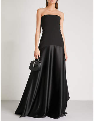 SOLACE London Alessandra strapless woven and satin maxi dress