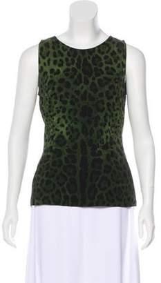 Dolce & Gabbana Silk Leopard Printed Top