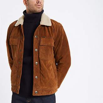 River Island Superdry tan suede fleece collar jacket