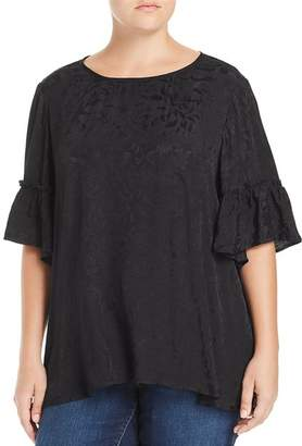 Lucky Brand Plus Tonal Floral Bell Sleeve Top