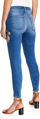 7 For All Mankind Jen7 By Floral Embroidered Faded Skinny Ankle Jeans