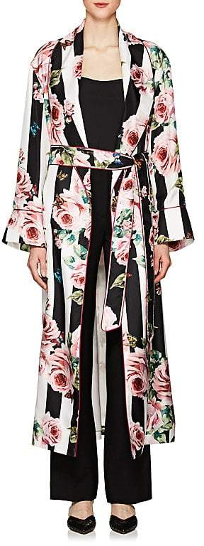 Women's Striped & Rose-Print Silk Belted Robe Coat