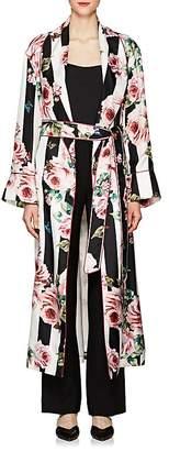 Dolce & Gabbana Women's Striped & Rose-Print Silk Belted Robe Coat
