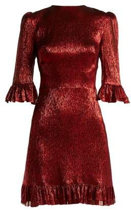 The Vampire's Wife - Festival Ruffle Trimmed Silk Blend Lamé Mini Dress - Womens - Red