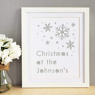 Altered Chic Personalised Christmas Snowflakes Glittered Cut Out Art