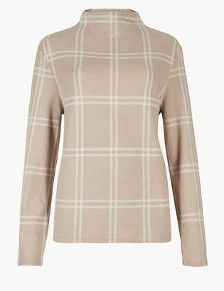 Marks and Spencer Checked High Neck Long Sleeve Sweatshirt