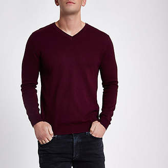 River Island Burgundy slim fit V neck sweater