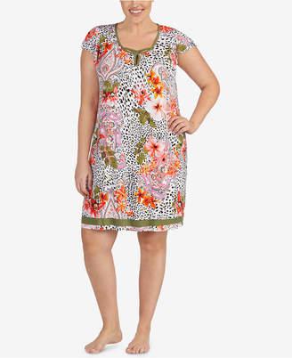Ellen Tracy Plus Size Floral-Print Flutter-Sleeve Chemise