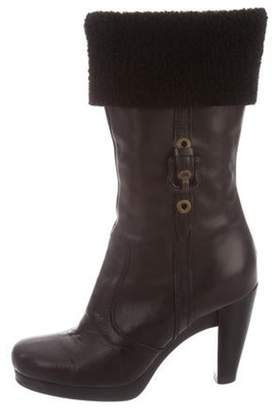 Fendi Shearling-Lined Round-Toe Boots Black Shearling-Lined Round-Toe Boots