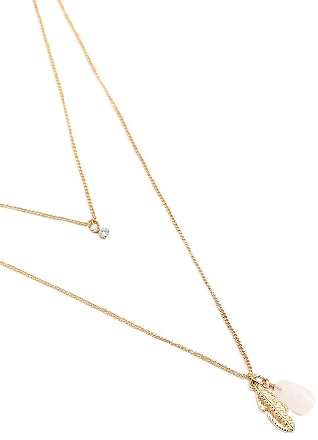 Forever 21 Layered Feather Pendant Necklace