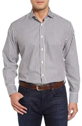 Thomas Dean Regular Fit Stripe Herringbone Sport Shirt