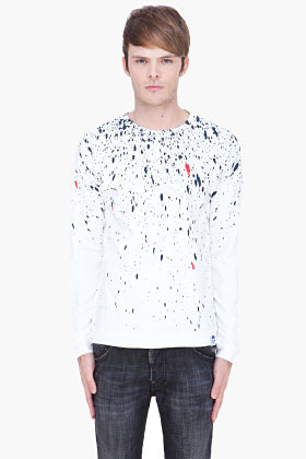 G Star G-STAR white and navy Painter pullover