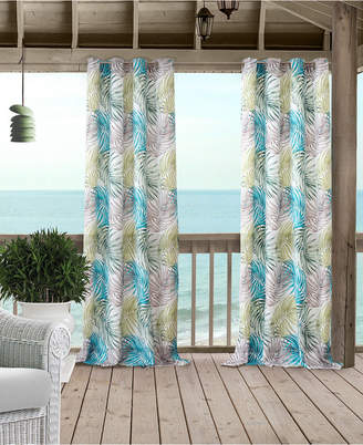 "Elrene Tahiti 50"" x 84"" Palm-Print Water-Repellent Indoor/Outdoor Grommet Curtain Panel with 50+ UV Protection"