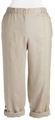 Calvin Klein Plus Plus Linen Rolled-Cuff Pants