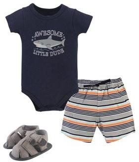 Hudson Baby Bodysuit, Shorts & Shoes (Baby Boys)