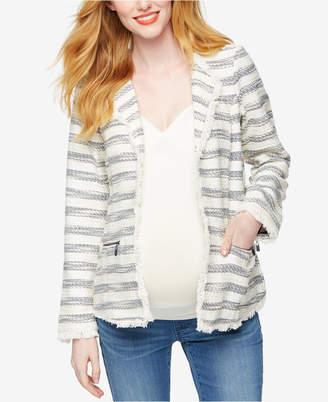 Willow & Clay Maternity Striped Tweed Blazer