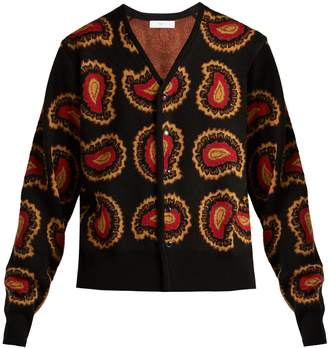 Toga Paisley intarsia-knit V-neck cardigan