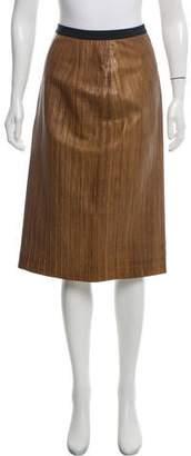 Oscar de la Renta Textured Leather Skirt