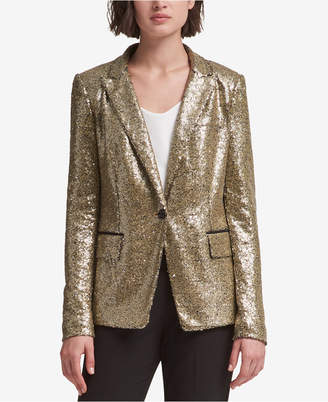 DKNY Sequined One-Button Blazer