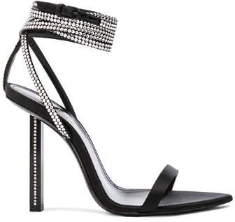 Saint Laurent Tower Crystal Embellished Satin Ankle Strap Sandals