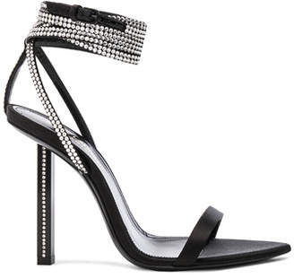 Saint Laurent Tower Crystal Embellished Satin Ankle Strap Sandals