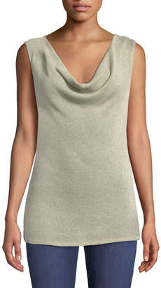 Three Dots Cowl-Neck Shimmer Knit Tank