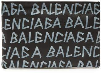 Balenciaga Carry Clip M grained-leather pouch