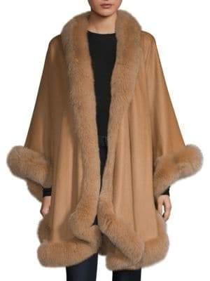 Sofia Cashmere Fox Fur-Trimmed Cashmere Wrap