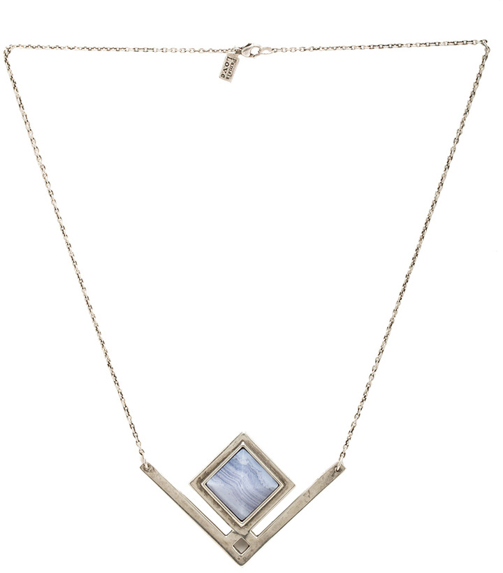 Pamela Love Rise Antique Plated Pendant Necklace in Blue Lace Agate