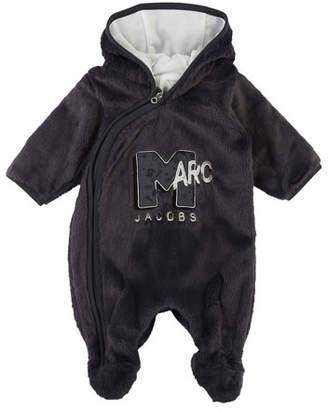 Little Marc Jacobs MTV Logo Faux-Fur Footie Bodysuit, Size 3-9 Months