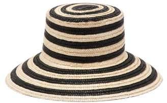 Max Mara Stripe Straw Bucket Hat - Womens - Black White