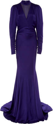 Monique Lhuillier High Neck Long Sleeve Satin Gown
