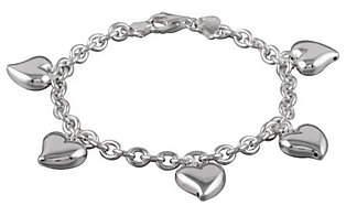 "UltraFine Silver 7-1/2"" Polished Heart Charm Br"