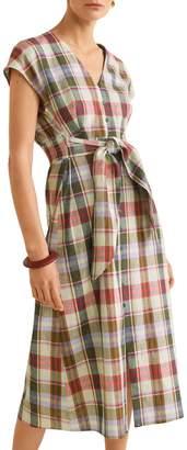 MANGO Bombay Checkered Linen Cotton Blend A-Line Dress