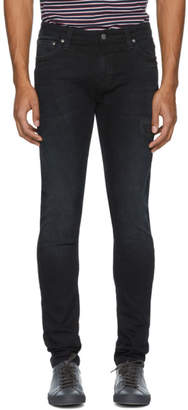 Nudie Jeans Black Blue Patches Skinny Lin Jeans