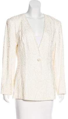 Carmen Marc Valvo Textured Collarless Blazer