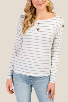 Isla Ribbed Knit Stripe Button Shoulder Top - Ivory