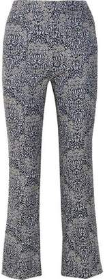 Erdem Valary Floral-Jacquard Flared Pants
