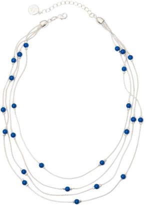 Liz Claiborne Blue Bead 4-Row Necklace
