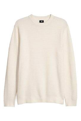 H&M Textured-knit Sweater - Natural white - Men