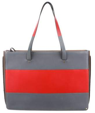 Valentino Striped Leather Tote Bag Red Striped Leather Tote Bag