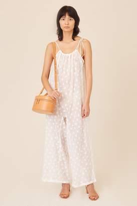 4054d0b0389 Mansur Gavriel Floral Embroidered Linen Jumpsuit - White