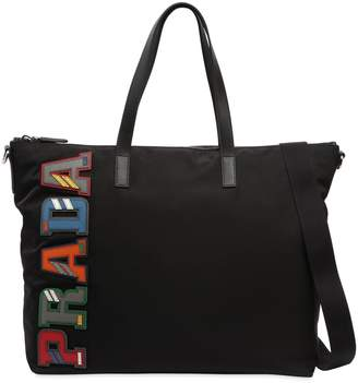 Prada Nylon Tote Bag W/ Leather Logo Patches