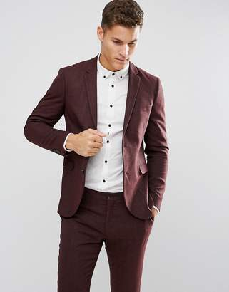Jack and Jones Slim Suit Jacket In Herringbone Tweed