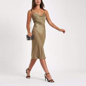 River Island Womens Khaki satin cowl neck slip dress