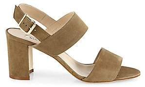 Manolo Blahnik Women's Khan 70 Suede Block Heel Slingback Sandals